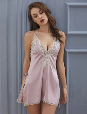 Simplicity Pink Plunging Neck Silk Chemise Lace Nightwear For Bedtime