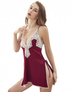 Lady Jujube Red Deep V Neck Satin Lace Stitching Mini Chemise High Grade