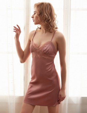 Graceful Pink Faux Silk Lace Chemises Sleepwear Solid Color Comfort