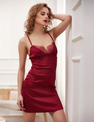 Inexpensive Jujube Red Faux Silk Slender Straps Backless Lace Chemise