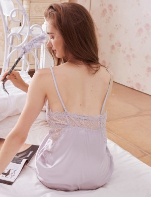 Comely Pink Backless Faux Silk Adjustable Straps Chemises Ultra Hot