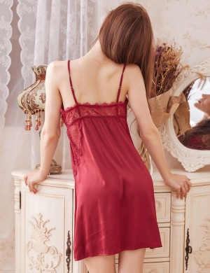 Hot Purplish Red V Neck Lace Sling Faux Silk Backless Chemises Boudoir Time