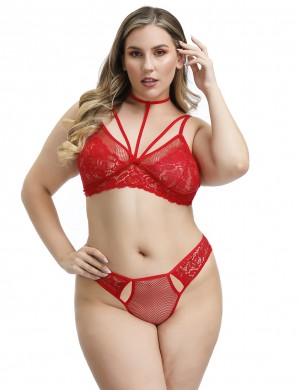 Ritzy Red Cutout Queen Size Caged Lace Bralette 2 Pieces Smooth Fabric