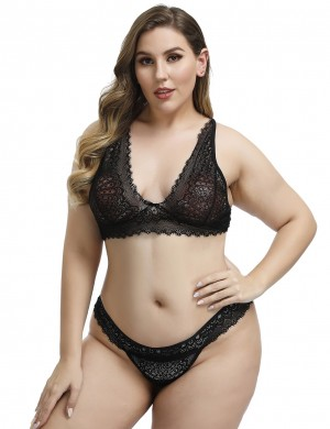 Refreshing Black Lace Plus Size Bralette Set Plunging Neck Images On Pinterest
