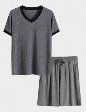Dark Grey Short Sleeves Big Size Modal Male 2 Pieces Sleepwear Perfection