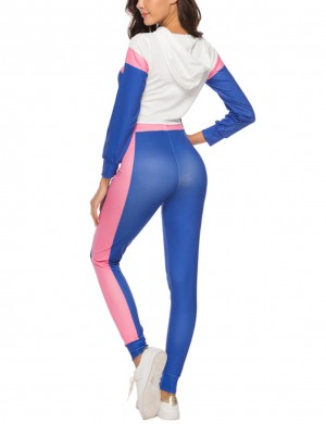 Super Comfy Blue Contrast Color Crop Top Sport Suit Women's Clothes