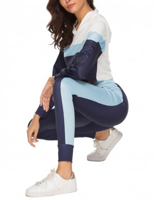 Brilliant Purplish Blue Two Pieces Long Sleeve Hoodie And Pants