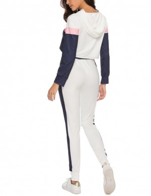 Best Design Creamy White Contrast Color Long Pants Sport Outfit Ladies
