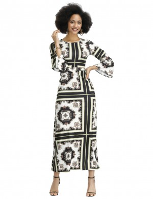Intrigued Black 3/4 Sleeves Square Towel Printed Dress Great Quality
