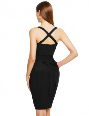 Fresh Black Square Neck Bnadage Dress Cross Straps Feminine Fashion Style