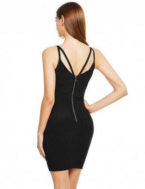Black Cross Sling Zip At Back Tight Bandage Dress Natural Women Fashion
