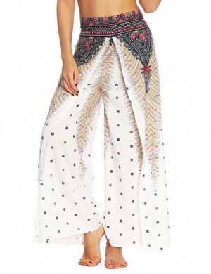 Premium High Waist African Printing Slit Pants Women