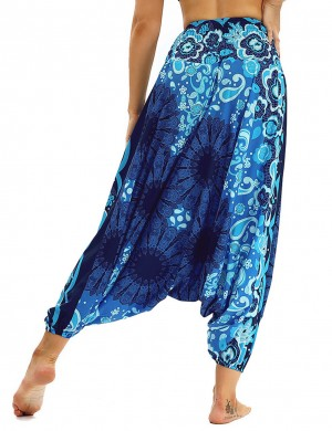 Incredible Wide-Leg Lantern Pants Flower Painted Holiday