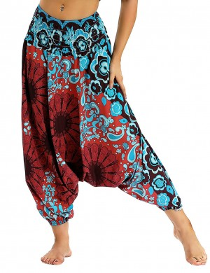 Snazzy Wide Legs Digital Printing Lantern Pants Slim Fit