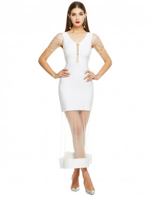 Sultry White Sleeveless Hollow Sheer Mesh Bandage Dress Cheap Online Sale