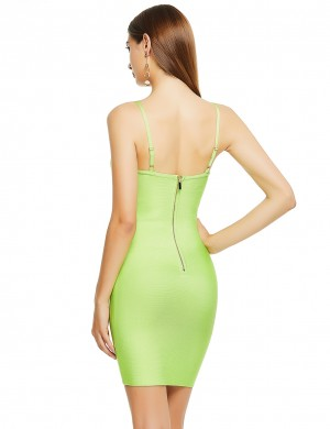 Conservative Light Green Bandage Dress U-Neck Metal Button Zipper Cheap