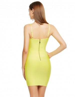 Shimmer Yellow Metal Button Adjustable Straps Bandage Dress High Quality