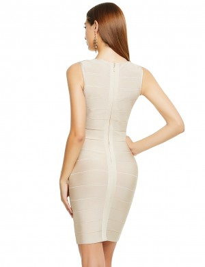 Curve Smoothing Apricot Tight Bandage Dress V-Neck Stripe Sleeveless