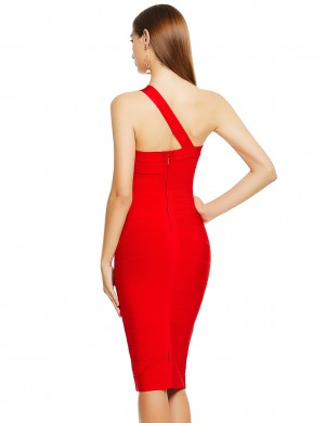 Wonderful Red Bandage Dress One Shoulder Back Slit Home Dress