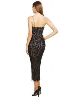 Formal Black Perspective Bandage Dress Sling Lace Outfit