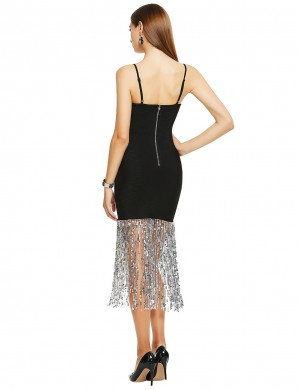 Elegant Black Straps Sequin Tassel Hem Bandage Dress Casual Wear