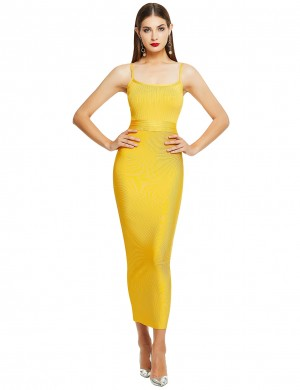 Loose Fitting Yellow Slender Strap Square Neck Bandage Dress For Female