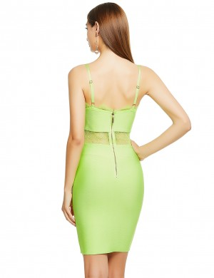 Romantic Light Green Lace Patchwork Bandage Dress Open Back Chic Trend