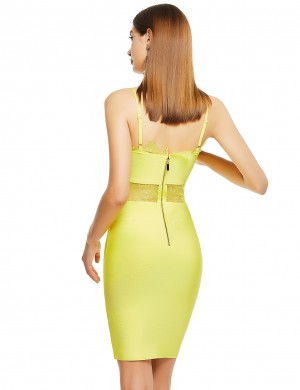 Flirting Yellow Sheer Bandage Dress Lace Trim Zipper Female