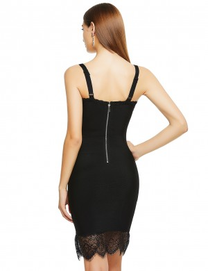 Naughty Black Lace Patchwork Adjustable Strap Bandage Dress Regular Fit