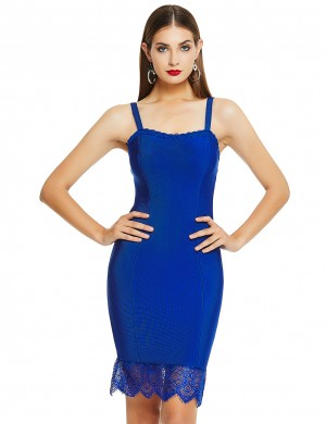Breathtaking Royal Blue Strap Zipper Bandage Dress Lace Hem Ladies Grace