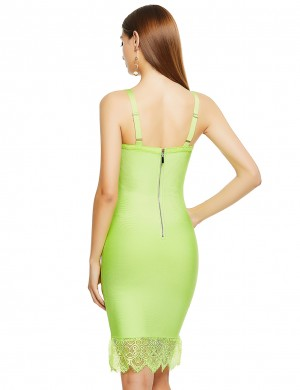 Chic Light Green Tight Bandage Dress Sweetheart Neck Lace Glamor