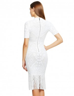 Delightful White Half Sleeve Bandage Dress Tassel Hem Fashion