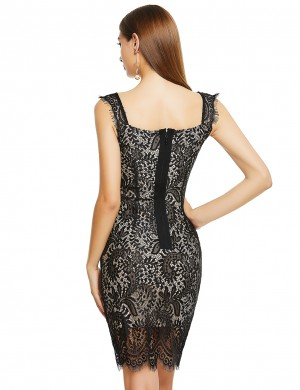 Plain Black Wide Straps Lace Patchwork Bandage Dress Best Materials
