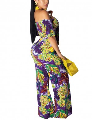 Spectacular Purple Plant Printed High Waist Sweat Suit For Women Online