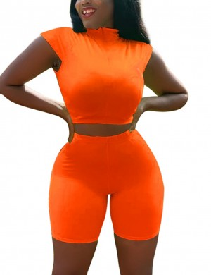 Fascinating Orange Zip At Front Crop Top And Plain Shorts Best Materials