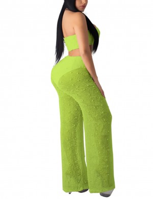 Dreamlike Green Two Piece Tube Top Knit Wide-Leg Pants Chic Online