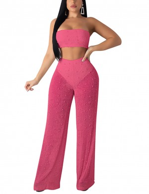 Upscale Rose Red Bandeau Top And Knitting Plain Pants Online Wholesale