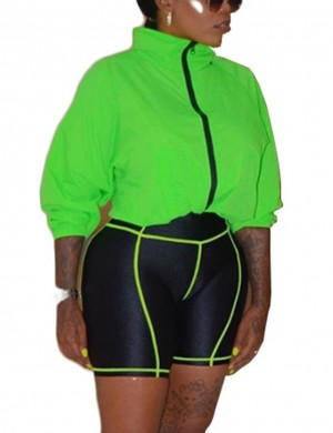 Kinetic Green Zipper Top And High Waist Tight Shorts Women's Tops