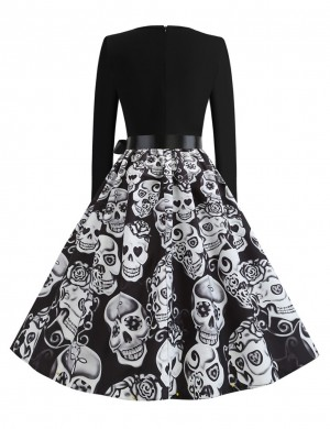 Ethereal Skater Dress Skull Print Tie Fleated Hem Casual Fashion