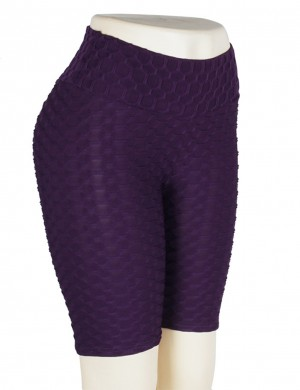 Simply Chic Purple Gym Shorts Jacquard Tight High Waist For Ladies