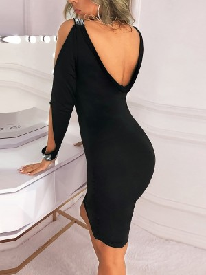 Explicitly Chosen Black Bodycon Dress Plunge-V Solid Color Natural Women