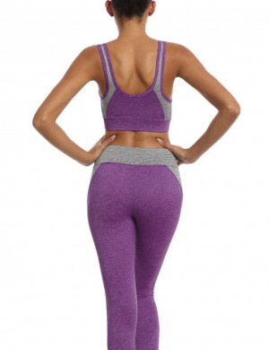 Hot Purple Sweat Suit Contrast Color High Waist For Warmup
