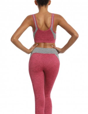 Exotic Paradise Rose Red Open Back Tank Top Patchwork Yoga Leggings