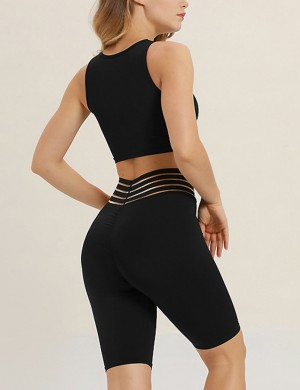 Slimming Black Drawstring V-Neck Stripe Bike Shorts Sensual Curves