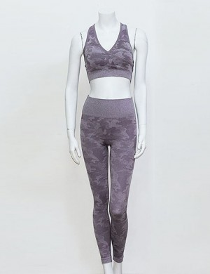 Purple Camouflage Crossover High Rise 2 Pieces With Stylish Design