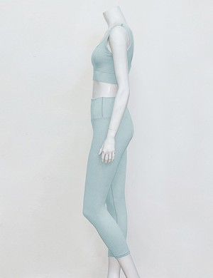 Exquisitely Blue Tank Top High Rise Full Lenth Leggings Running Outfits