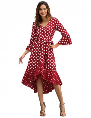 Lively Wine Red Dot Print High-Low Hem Summer Dress Stretchy