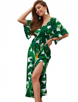 Minimalist Green Leaf Print Casual Slit Summer Dress Vacation Time