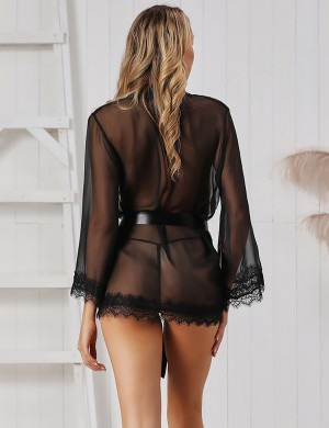 Black Sheer Mesh Lace Pathwork Waist Belt Lingerie Sexy
