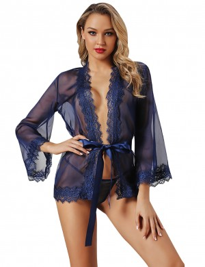 Blue Lace Trim Trumpet Sleeve Waist Tie Lingerie Front-Fashion